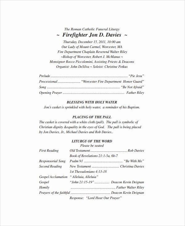 Funeral Mass Program Template Luxury Catholic Funeral Program Free Download the Best Home School Guide