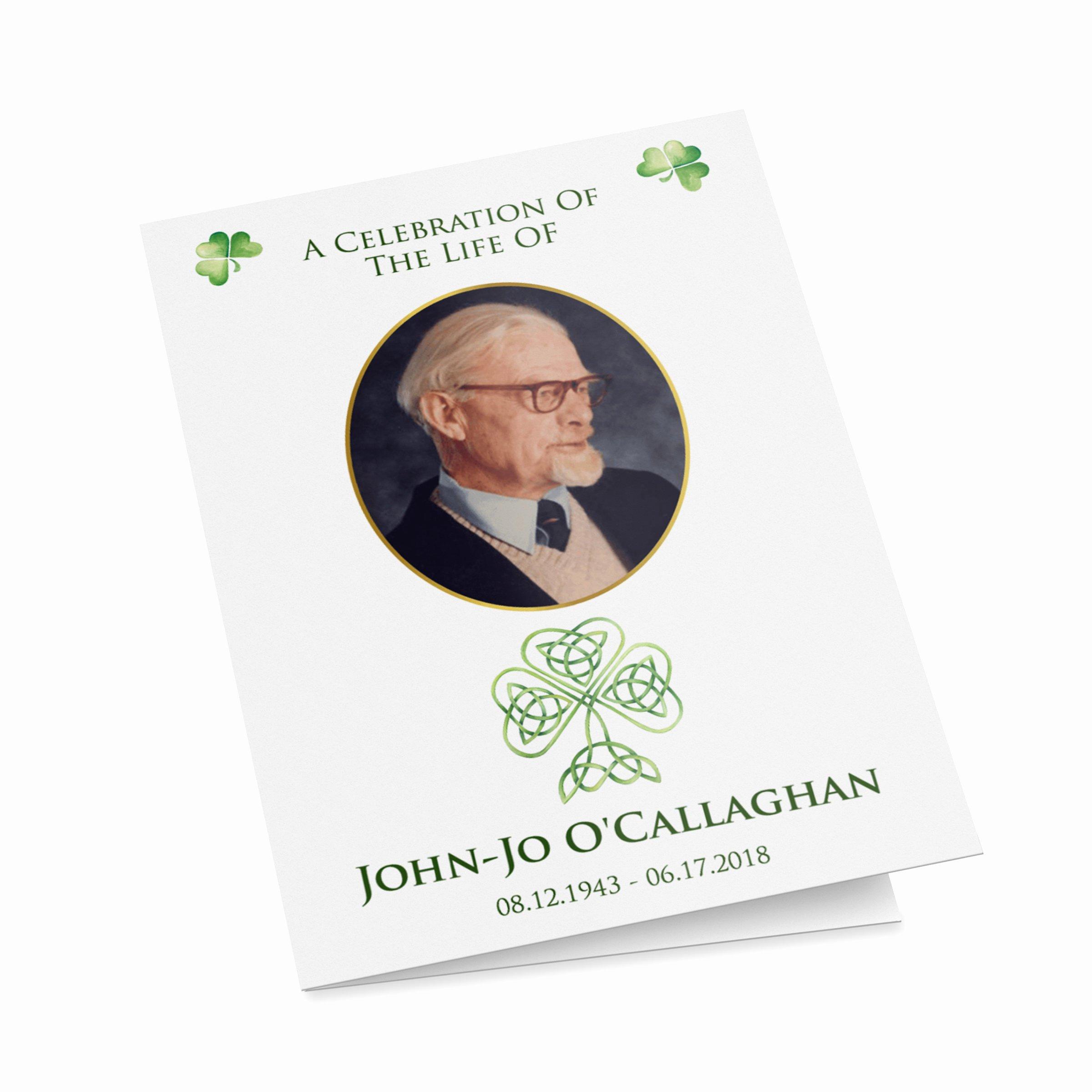 Funeral Mass Program Template Luxury Irish Catholic Funeral Mass Program Template with Shamrocks
