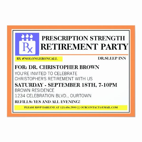 Funny Pill Bottle Labels Awesome Fun Prescription Label Retirement Invitations