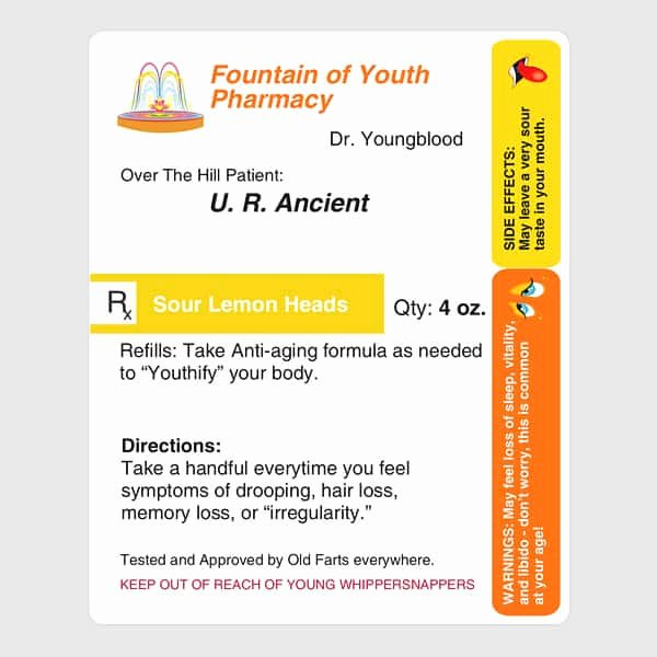 Funny Pill Bottle Labels Elegant Prescription for Aging Funny Milestone Birthday Gag Gift