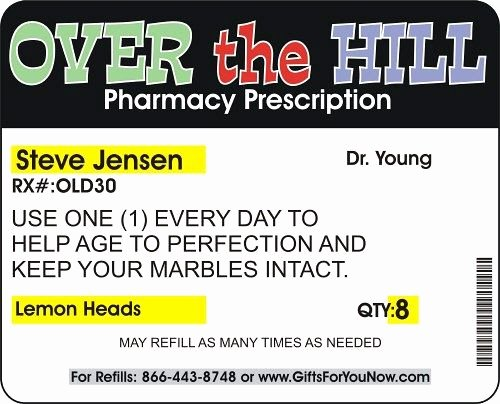Funny Pill Bottle Labels Lovely Over the Hill Pharmacy Personalized Birthday Prescription Bottle Set