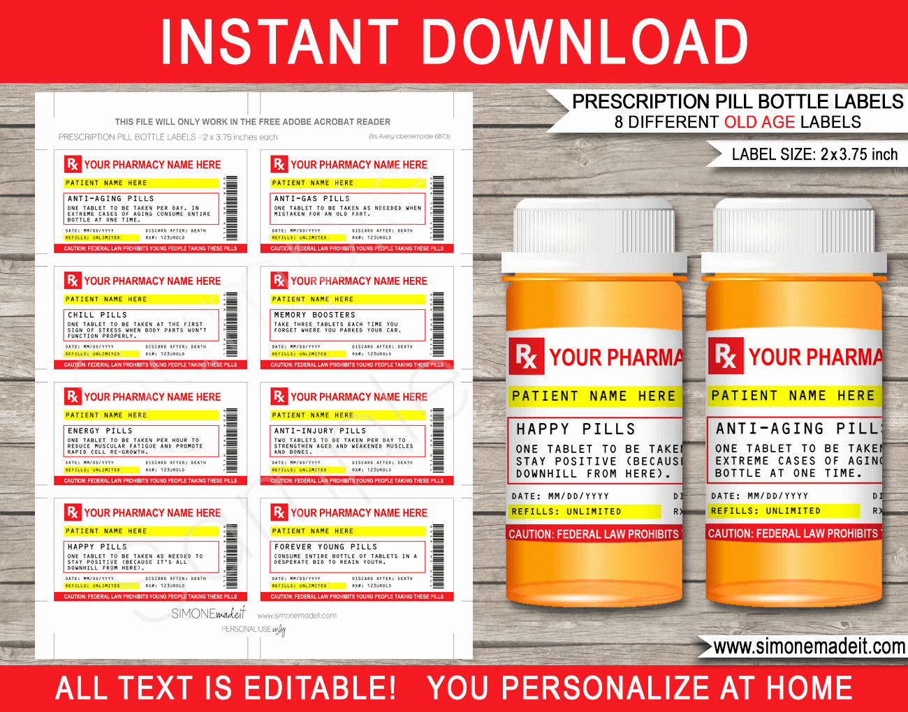 Funny Pill Bottle Labels Luxury Gag Prescription Labels Template