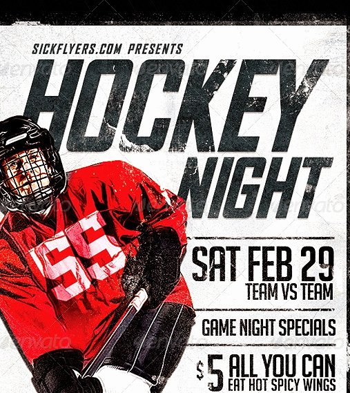 Game Night Flyer Template Awesome 20 Cool Hockey Flyers Templates