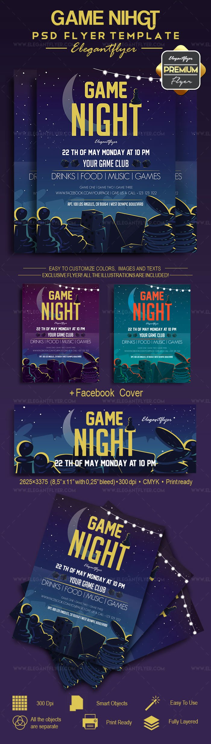 Game Night Flyer Template Awesome Game Night – Flyer Psd Template – by Elegantflyer