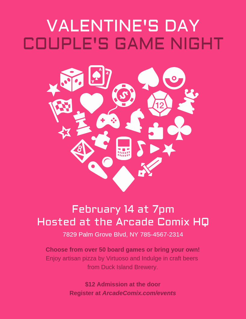 Game Night Flyer Template Beautiful Game Night Valentine S Day event Flyer Template Template