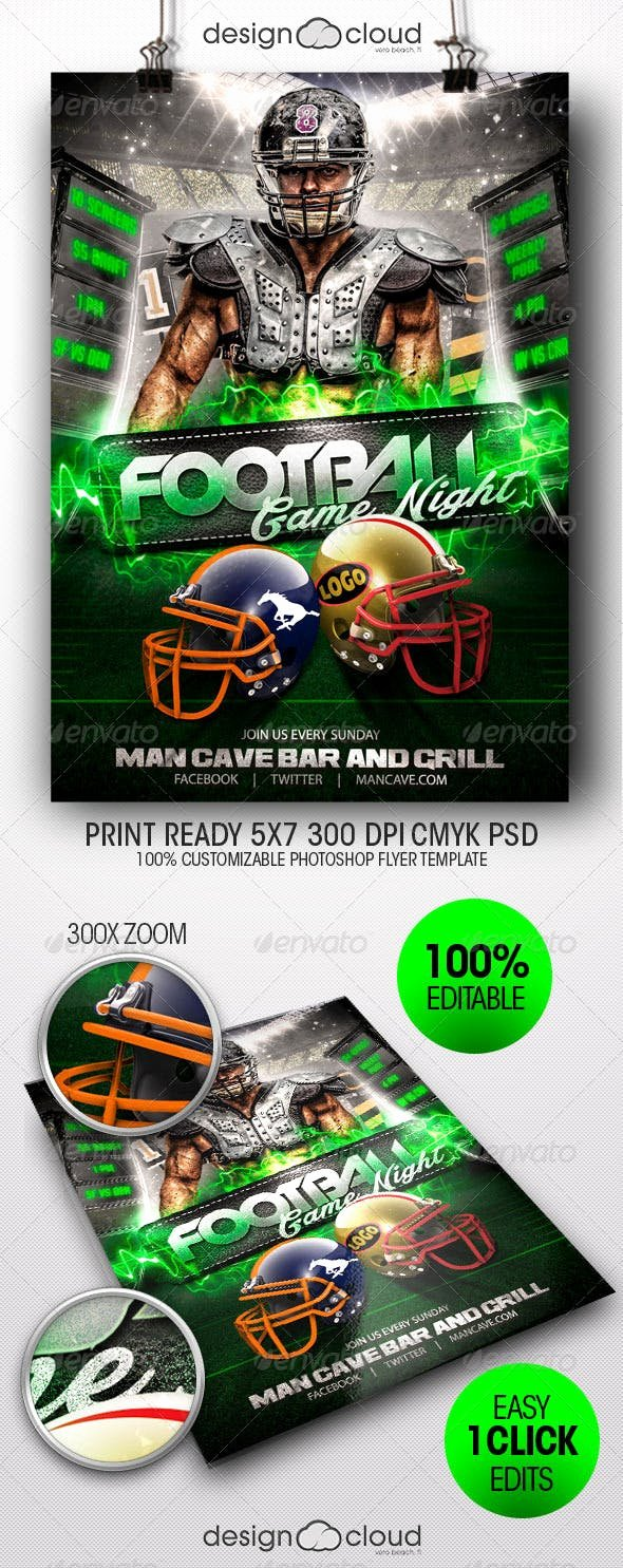 Game Night Flyer Template Elegant Football Game Night Flyer Template by Design Cloud