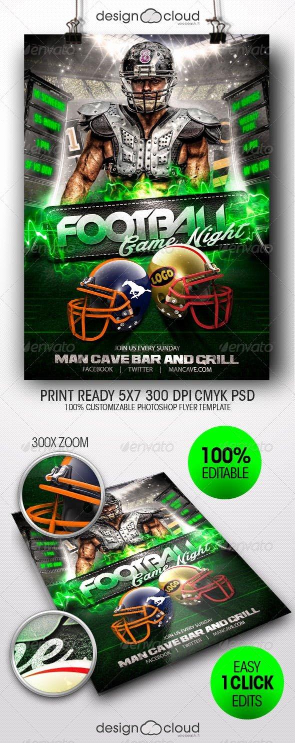 Game Night Flyer Template Elegant Football Game Night Flyer Template by Design Cloud