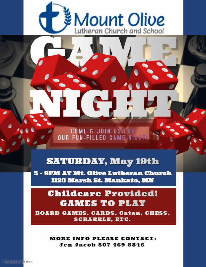 Game Night Flyer Template Luxury Family Board Game Night