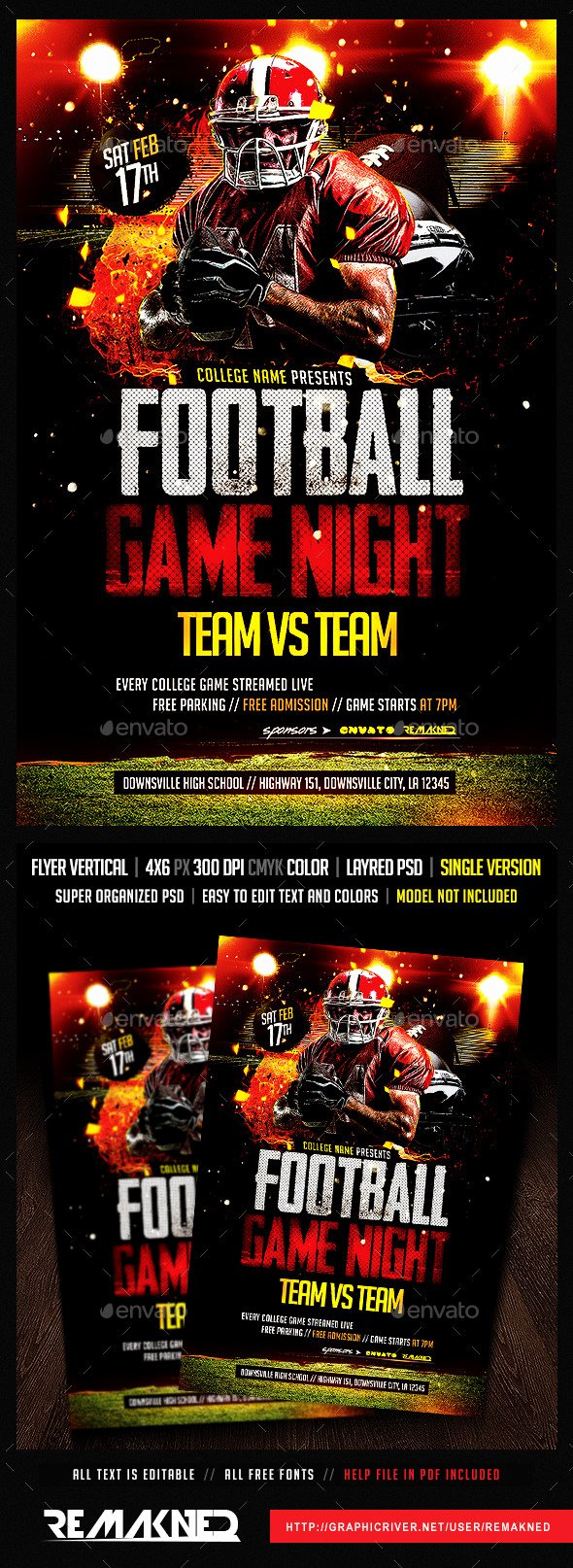 Game Night Flyer Template New Football Game Night