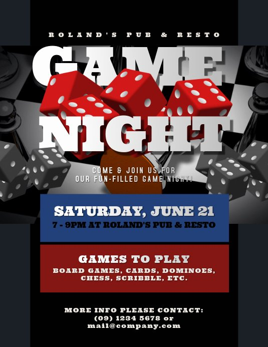 Game Night Flyer Template Unique Game Night Flyer Template