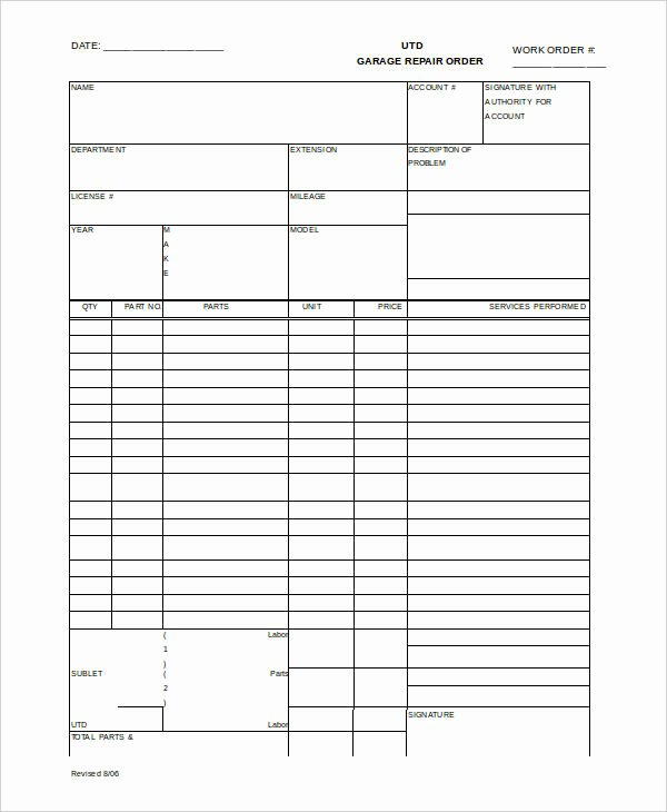 Garage Repair order forms Beautiful 29 order Templates In Word