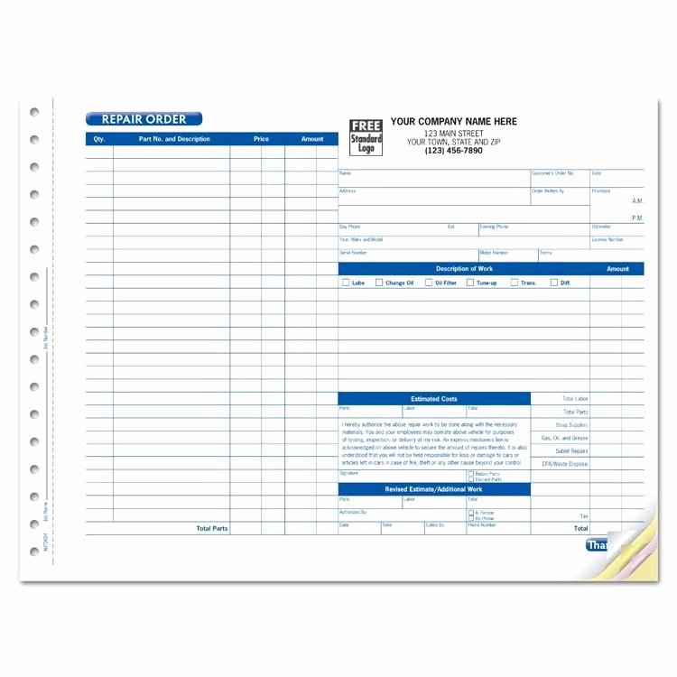 Garage Repair order forms Elegant Work order forms Work order forms
