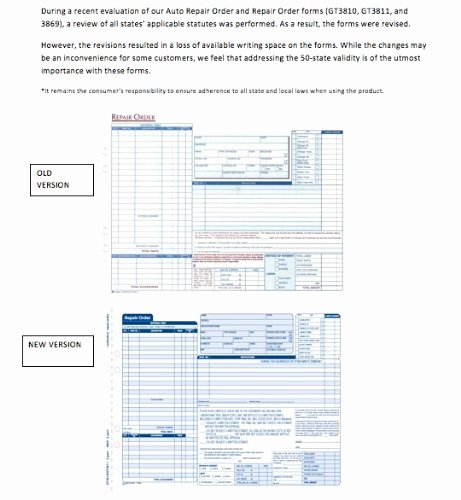 Garage Repair order forms Inspirational Adams Garage Repair order forms 8 5 X 11 44 Inches 3 Part 50 Sets White A