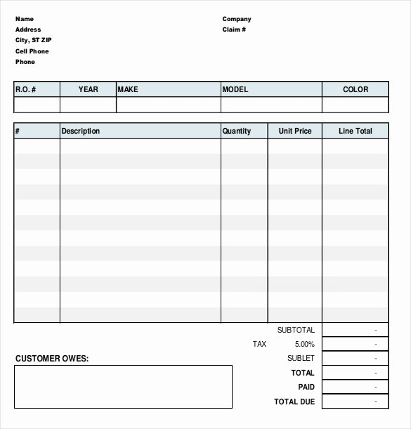 Garage Repair order forms Inspirational Garage Repair order forms
