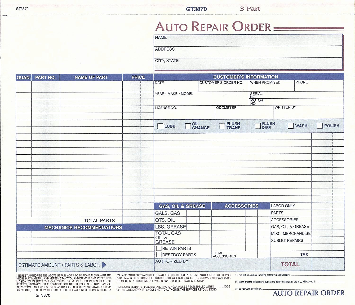 Garage Repair order forms Lovely New Repair order forms Konoplja Co