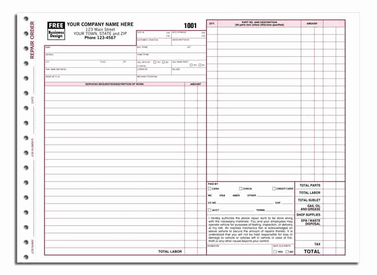 Garage Repair order forms New 6581 A K A 6581 3 Garage Repair order form Carbonless