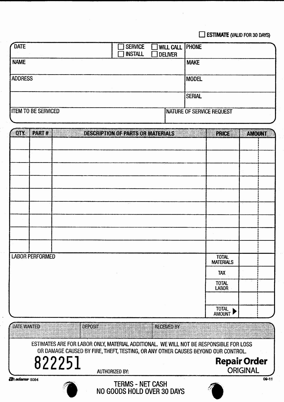 Garage Repair order forms New Adams D5084 Repair order Book