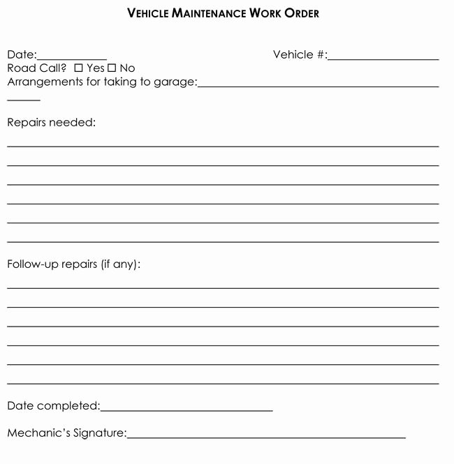 Garage Repair order forms New Work order Template