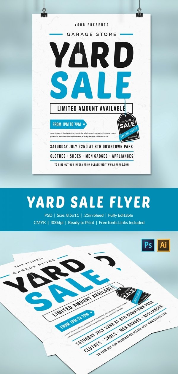 Garage Sale Flyer Template Free Awesome 14 Best Yard Sale Flyer Templates & Psd Designs