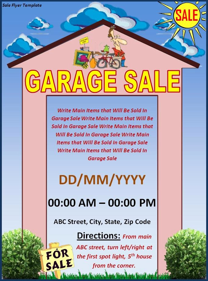 Garage Sale Flyer Template Free Awesome Sales Flyer Template