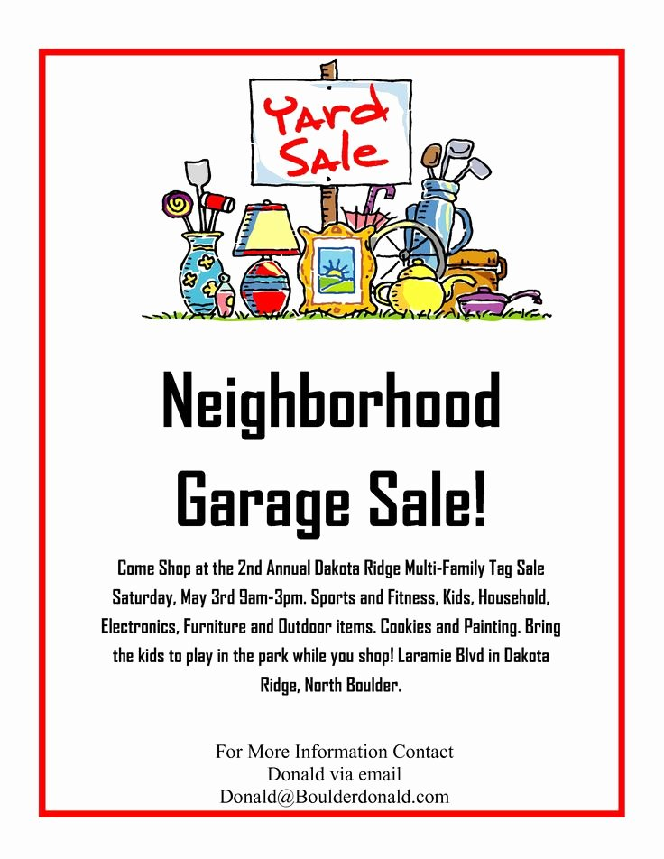 Garage Sale Flyer Template Free Inspirational Dakota Ridge Munity Garage Sale May 3rd 2014 Oh Yeah It S Yard Sale Season