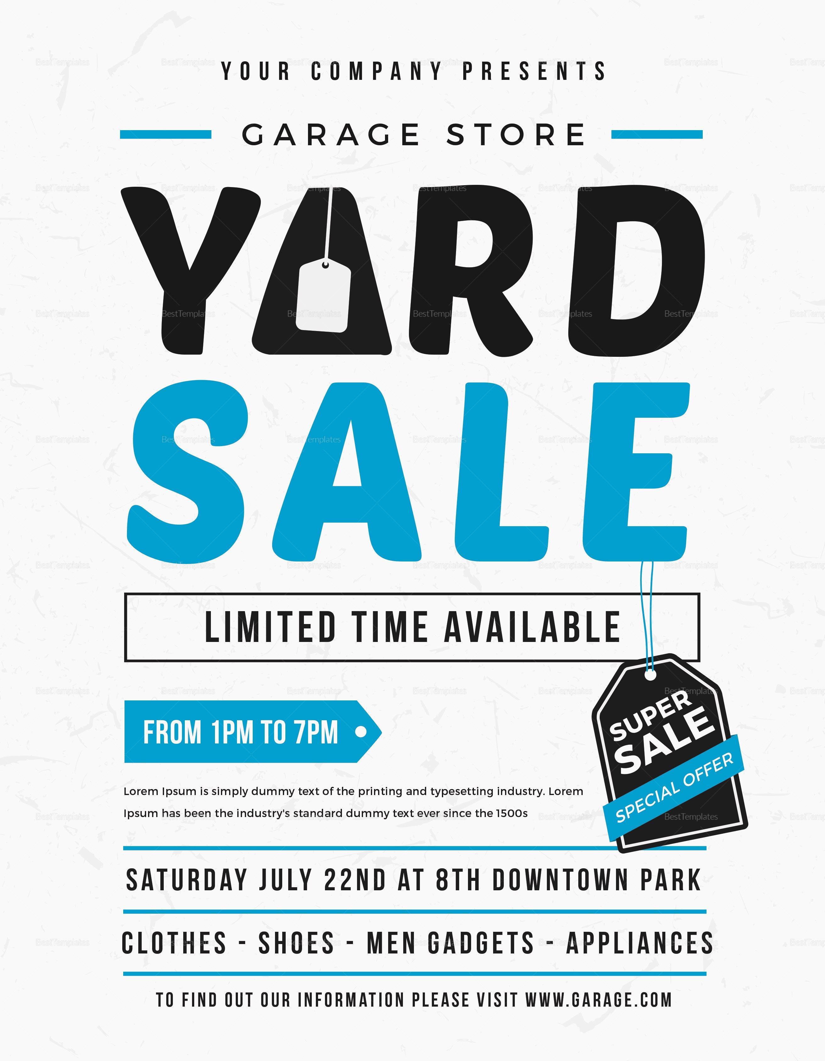 Garage Sale Flyer Template Free Lovely Unique Yard Sale Flyer Design Template In Word Psd Illustrator Publisher