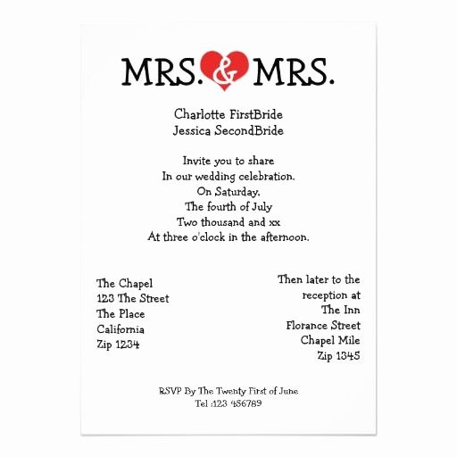 Gay Wedding Invite Wording Awesome Mrs and Mrs Love Heart Lesbian Wedding Invitation Zazzle Wedding