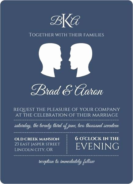 Gay Wedding Invite Wording Beautiful sophisticated Silhouette Gay Wedding Invitation