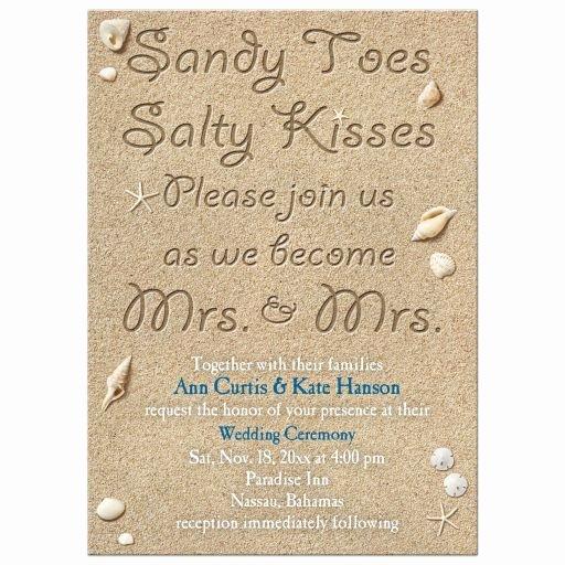 Gay Wedding Invite Wording Fresh Same Lesbian Wedding Invitation Beach Sandy toes Salty Kisses