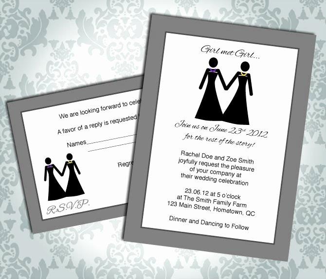 Gay Wedding Invite Wording Lovely Lesbian Wedding Invitation Mitment Ceremony Girl Met Girl Rsvp Custom