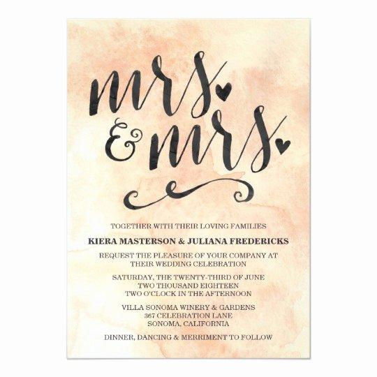Gay Wedding Invite Wording Lovely Mrs & Mrs Lesbian Wedding Invitation