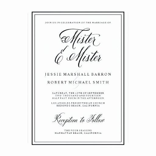 Gay Wedding Invite Wording Unique Gay Wedding Invitations Mister Elegant Script