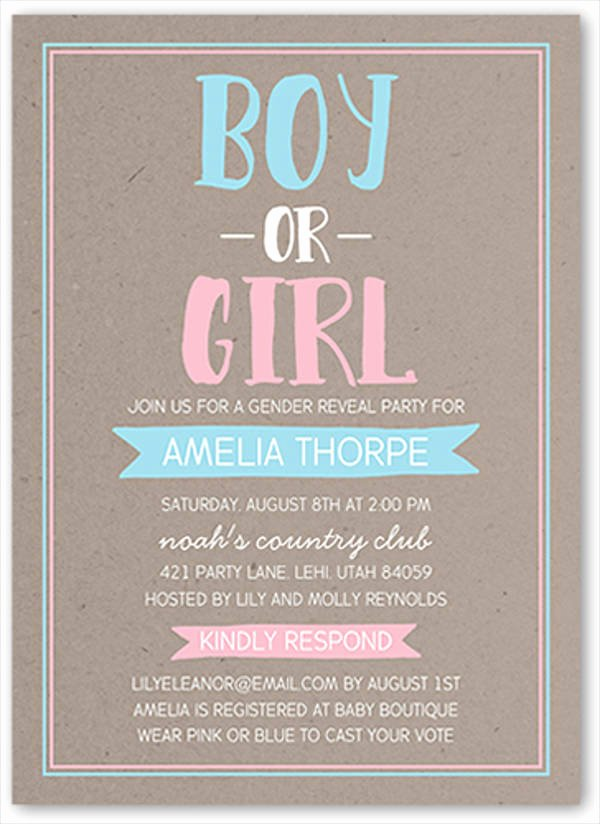 Gender Reveal Invitation Templates Beautiful 10 Gender Reveal Party Invitations Psd Ai