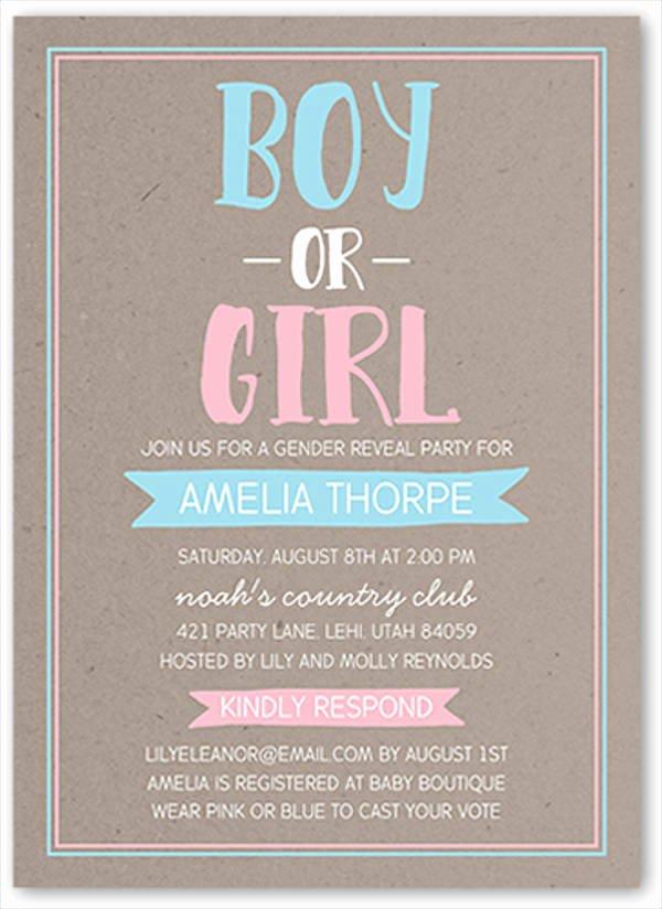 Gender Reveal Invitation Templates Beautiful 10 Gender Reveal Party Invitations Psd Ai