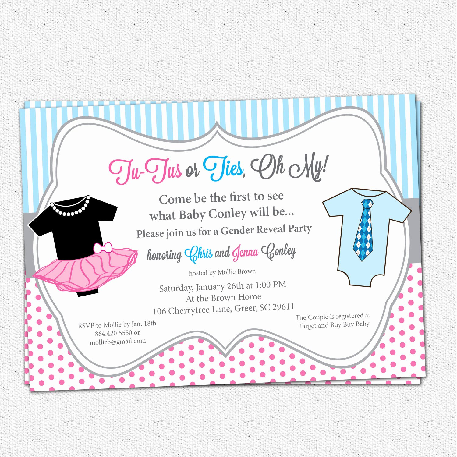 Gender Reveal Invitation Templates Beautiful Free Gender Reveal Party Invitations