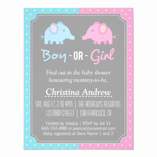 Gender Reveal Invitation Templates Elegant Baby Elephant Gender Reveal Baby Shower Party Invitation