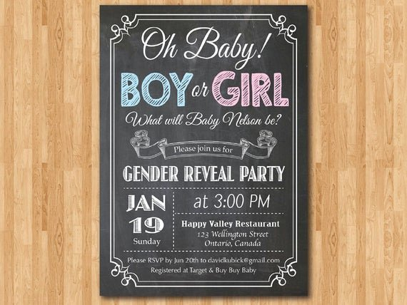 Gender Reveal Invitation Templates Elegant Chalkboard Gender Reveal Invitation Baby Boy or Girl