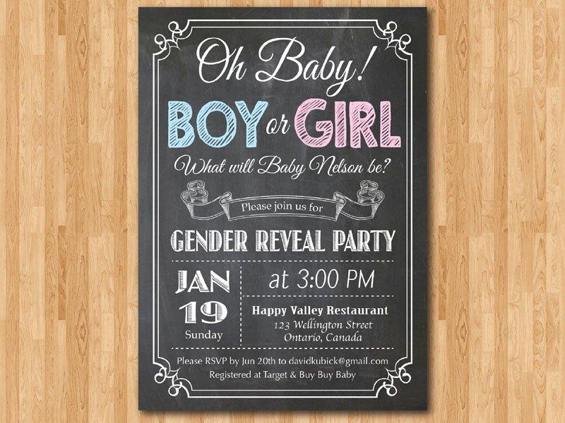 Gender Reveal Invitation Templates Inspirational Chalkboard Gender Reveal Invitation Baby Boy or Girl