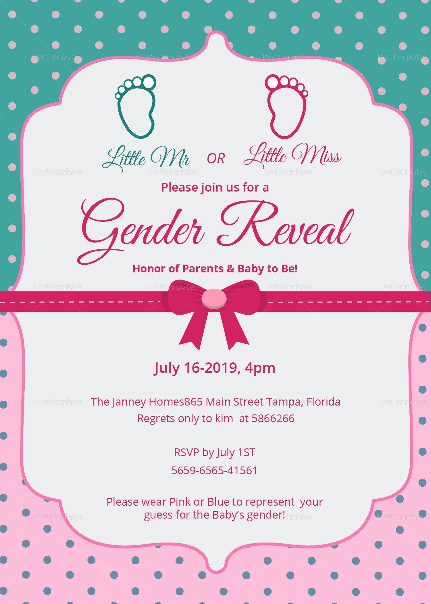 Gender Reveal Invitation Templates New Elegant Gender Reveal Invitation Card Design Template In