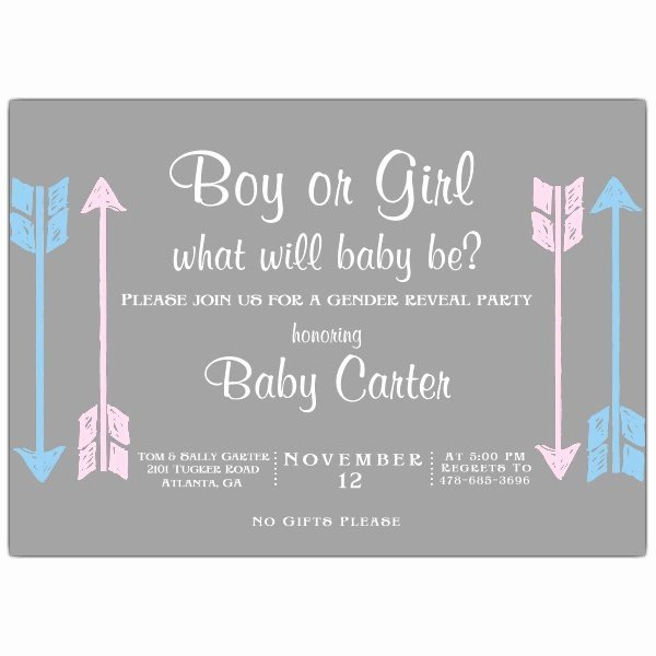 Gender Reveal Party Invitation Templates Awesome Boy Girl Arrows Gender Reveal Party Invitations