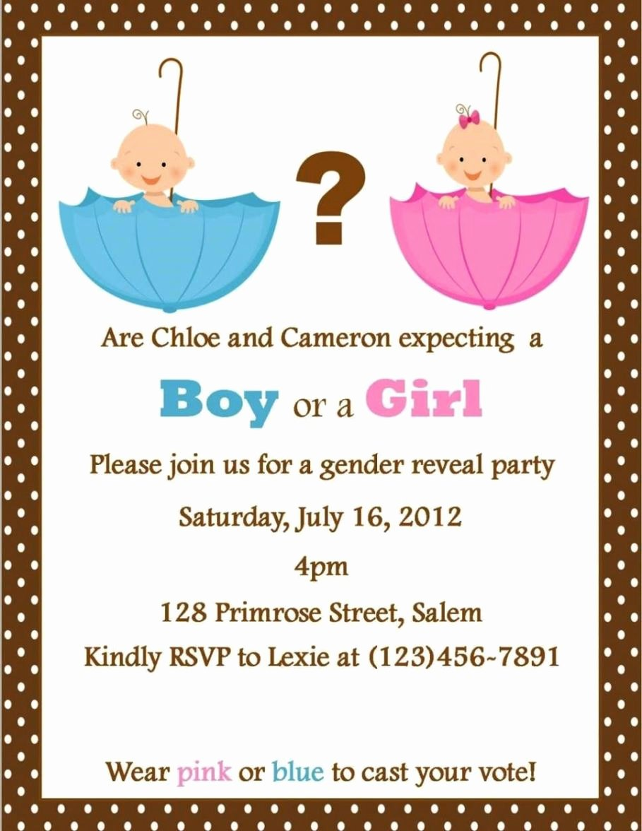 Gender Reveal Party Invitation Templates Awesome Gender Reveal Party Invitation Template Sampletemplatess Sampletemplatess