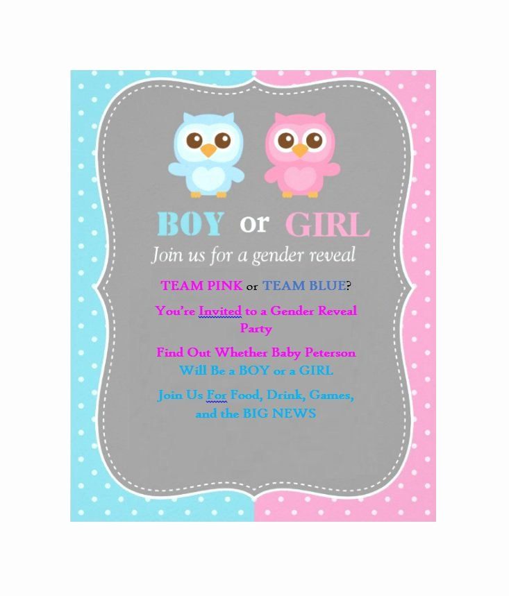 Gender Reveal Party Invitation Templates Fresh 17 Free Gender Reveal Invitation Templates Template Lab