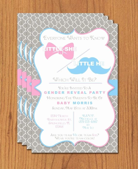 Gender Reveal Party Invitation Templates Lovely Bow and Mustache Gender Reveal Editable Template Microsoft Word format
