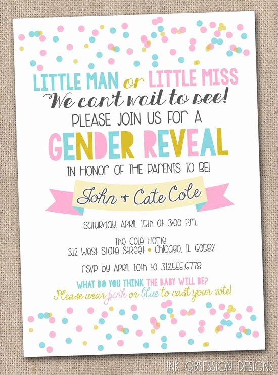 Gender Reveal Party Invitation Templates Lovely Gender Reveal Party Invitation Pink Blue & Gold Confetti Polka Dots Printable Digital File