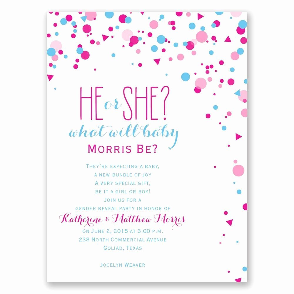 Gender Reveal Party Invitation Templates Lovely Pretty Confetti Petite Gender Reveal Invitation