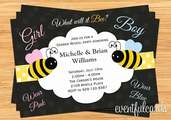 Gender Reveal Party Invitation Templates Lovely What Will It Bee Gender Reveal Party Invitation Printable