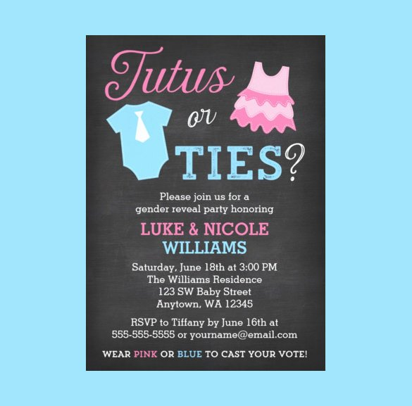 Gender Reveal Party Invitation Templates Luxury 35 Gender Reveal Invitation Template