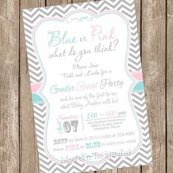 Gender Reveal Party Invitation Templates Luxury Chevron Gender Reveal Invitation Baby Reveal Invite Printable