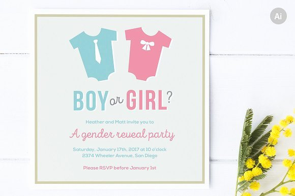 Gender Reveal Party Invitation Templates New Gender Reveal Party Invite Invitation Templates On Creative Market