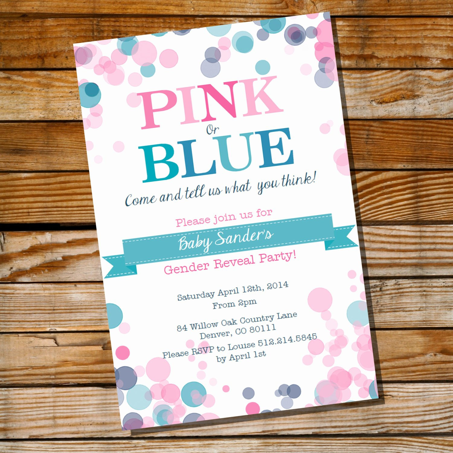Gender Reveal Party Invitation Templates Unique Gender Reveal Party Invitation Pink or Blue Instantly